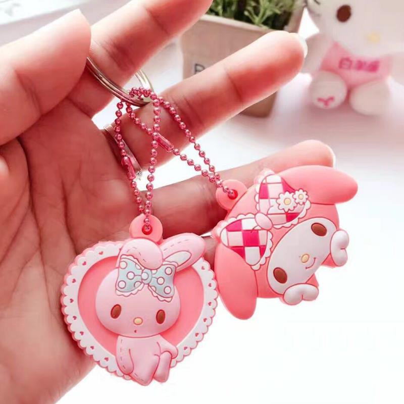 1set New Cute Keychain Chaveiros Pudding Dog My Melody Anime Key Met Keys Cover Cartoon Bag Chain Figure Toy