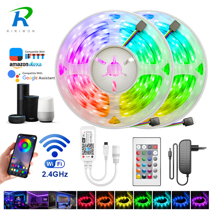 LED Strip Light RGBW RGB Waterproof 5m 10m 15m WiFi Music Control Diode Tape LED Stripe Ribbon WiFi Contrller EU Adapter DC 12V