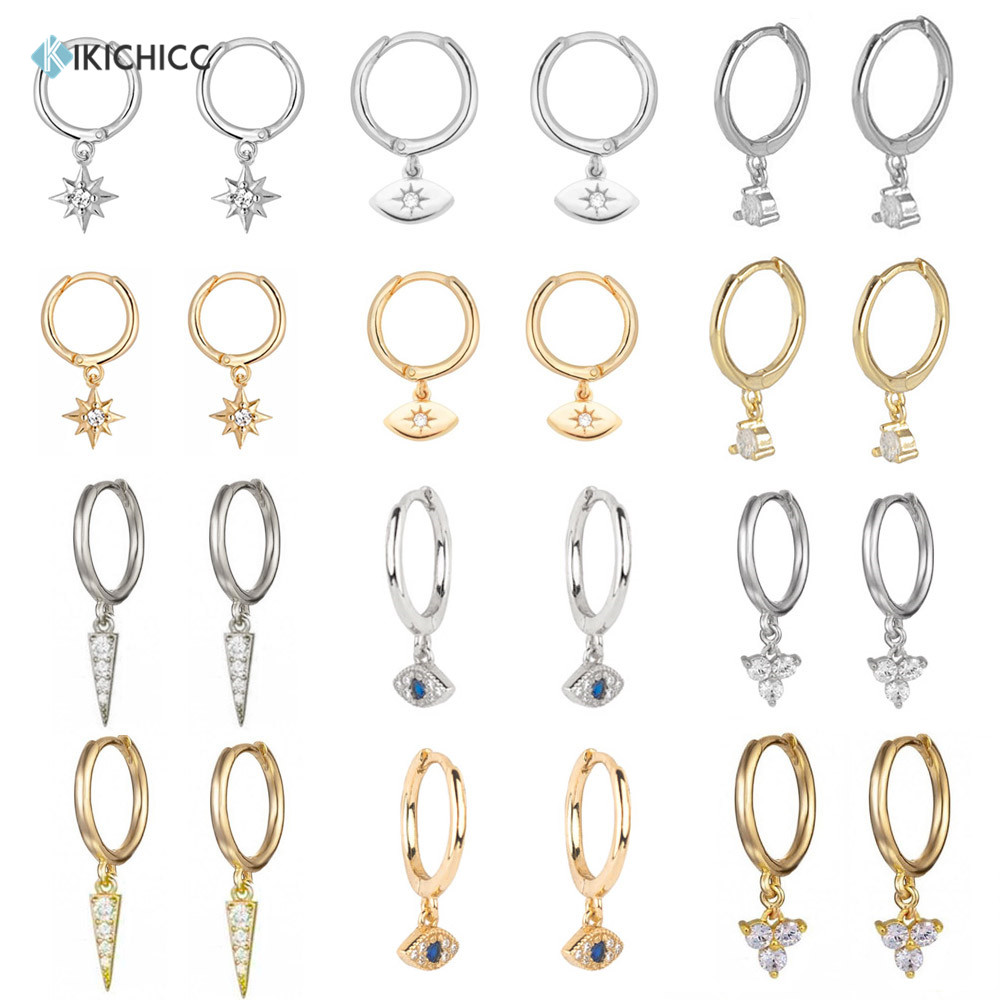 Kikichicc 925 Sterling Silver 8mm Huggies Circle Drop Earring Simple Loops Star Evil Eye Dangle Charm Circle Multi Type Earring