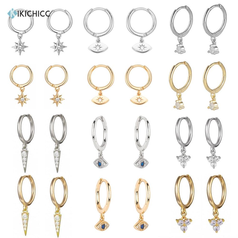 Kikichicc 925 Sterling Silver 8mm Huggies Circle Drop Earring Simple Loops Star Evil Eye Dangle Charm Circle Multi Type Earring