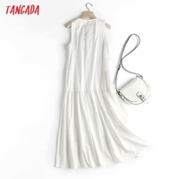 Tangada Women White Cotton Tank Dress Sleeveless Buttons 2021 Summer Fashion Lady Maxi Dresses High Quality 4C135 5