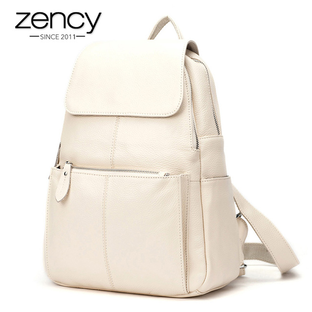 Zency Fashion Soft Genuine Leather Large Women Backpack High Quality A+ Ladies Daily Casual Travel Bag Knapsack Schoolbag Book 1