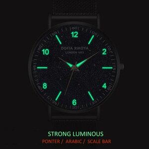 Image 2 - Relogio masculino yaratıcı Ultra ince saatler erkekler tam paslanmaz çelik siyah saat aydınlık arapça Timepiece su geçirmez askeri