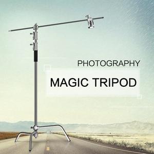 Image 5 - 2.6 متر/8.5FT الفولاذ المقاوم للصدأ القرن مصباح قابل للطي حامل ترايبود ماجيك الساق التصوير C الوقوف للضوء بقعة ، سوفت بوكس ، استوديو الصور