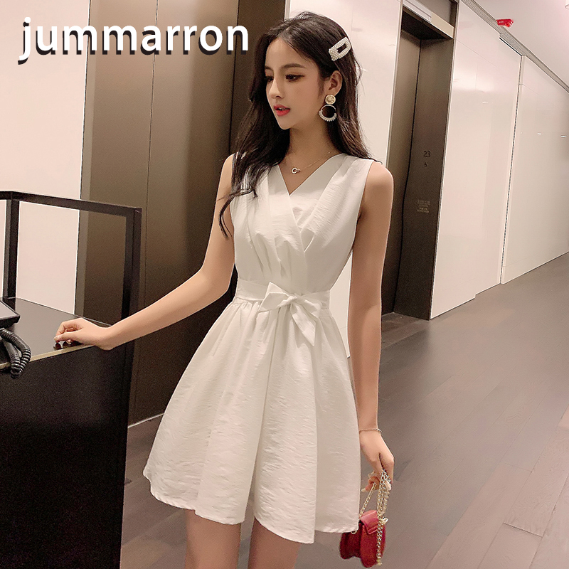 jummarron 2020 summer new women's <font><b>dresses</b></font> chiffon empire while <font><b>dress</b></font> office lady <font><b>dress</b></font> elegant Sleeveless short <font><b>dress</b></font> image