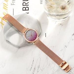 Image 4 - משלוח חינם Japanischen Bewegung מצב Farbe עיצוב אולטרה דק רשת להקה עמיד למים Armband גברות Armbanduhr Luxus דמן שעון