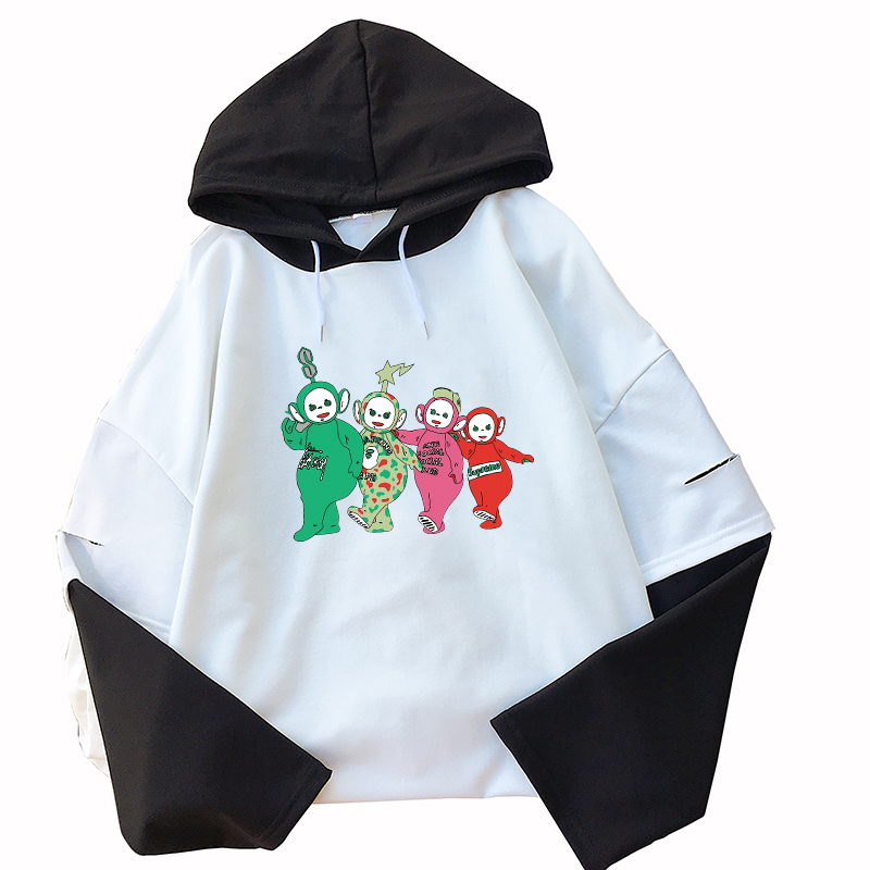 Hot Sale Teletubbies Funny Lovely Streetwear Hoody Long Sleeve Casual Female Harajuku Sweatshirts Hit Color Patchwork Pullover
