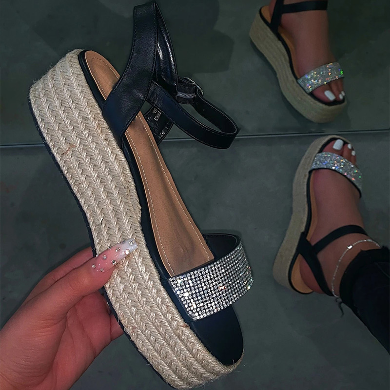 Women's Beach Sandals Hemp Flat Platform Sewing Shoes Women Outdoor Ladies Bling Sandals Leisure Buckle Sandalias Summer 2020