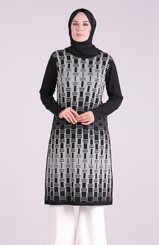 Minahill czarna tunika moda muzułmańska islamska odzież skromna topy arabska odzież długa tunika dla kobiet 1095-02 tanie i dobre opinie TR (pochodzenie) tops Aplikacje Bluzki i koszule Octan Dla dorosłych