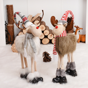Retractable Standing 43-76cm Christmas Doll Christmas Decoration Large Santa Claus Snowman Elk Doll Kids New Year Gift Toy