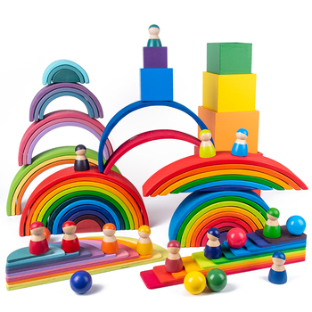 Baby Toys Large size Rainbow Building Blocks Wooden Toys For Kids Creative Rainbow Stacker Montessori Educational Toy Children montessori wooden rainbow blocks baby toys wooden toys for kids creative rainbow building blocks montessori educational toy