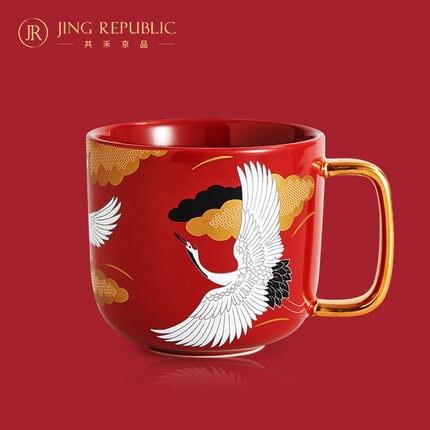 Chinois rétro tasse en céramique peint à la main fleur blanc grue eau tasse café thé lait tasse Drinkware haut de gamme cadeau en boîte