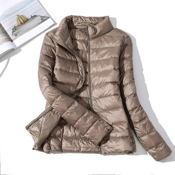 high quality 2019 New Autumn Winter Women Thin White Duck Down Jacket Parka Female Ultra Light Down Coat Short Tops Plus Size 5