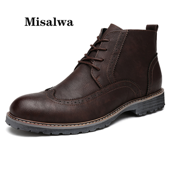 Misalwa High Top Vintage Men Boots Autumn Winter Brogue Ankle Boots Mens Desert Casual Work Boots Leather Lace Up Shoes short boots men winter high top high quality genuine leather shoes mens dress boots cowhide desert boots men military boots