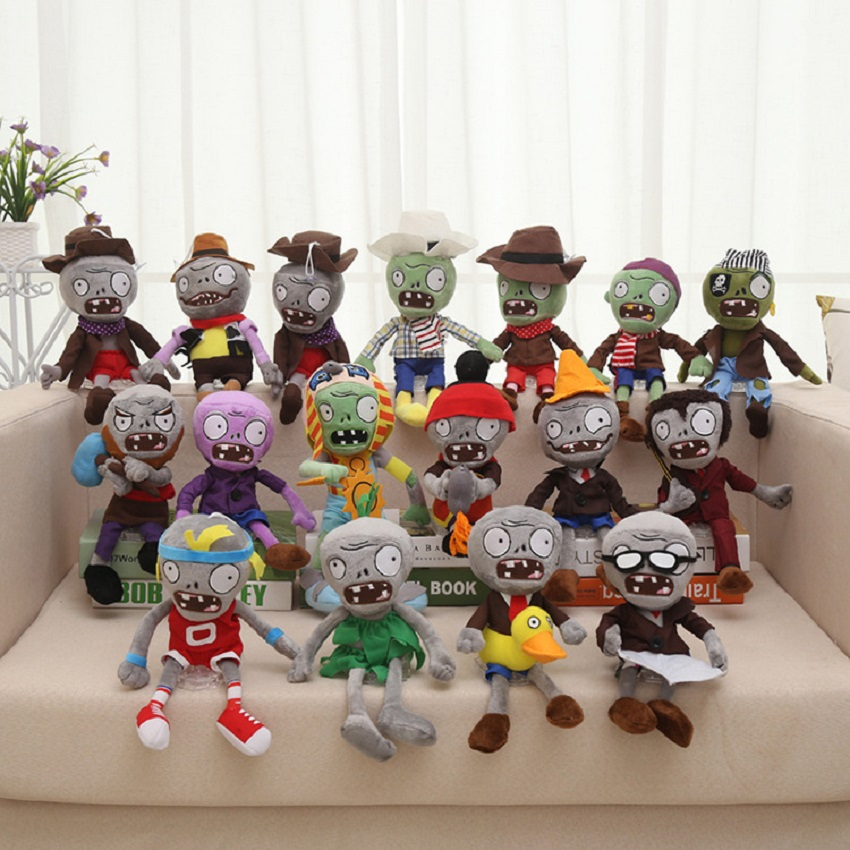 Plants Vs Zombies Plush Toys 30cm PVZ Plants Vs Zombies Hats Pirate Duck Zombies Plush Stuffed Toys Doll Gifts For Kids Children