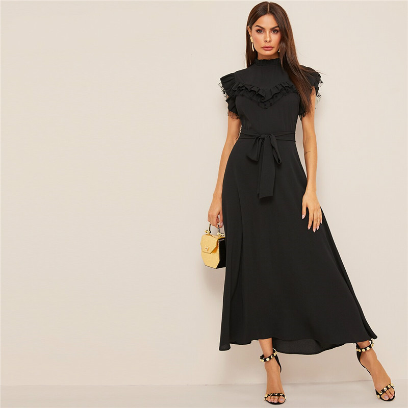 Layered Ruffle Detail Belted Fit And Flare Dress 2019 Stand Collar Sleeveless Black Solid Women Spring Autumn Dresses