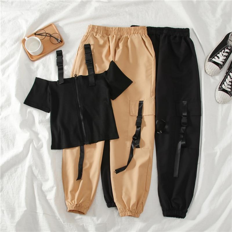 Safari Style Harem Long Pants Sets Women 2020 Summer Spring Vintage Streetwear Zipper Short Tops+long Pants Matching Set Female