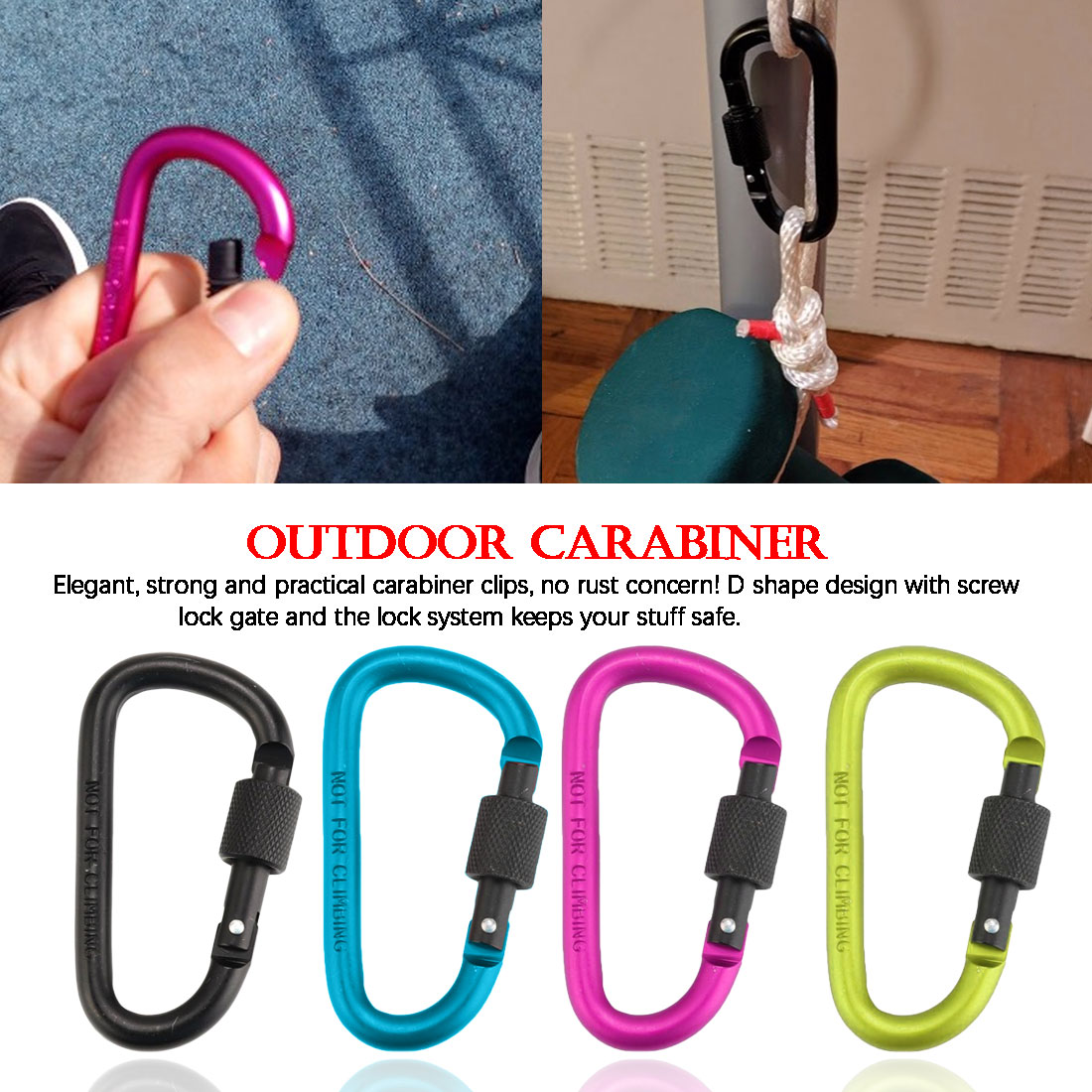 8cm Carabiner Climbing Locking Buckle Hanging Aluminum Nut Backpack Buckle Type D Quick Draw Carabiner Buckle outdoor carabiner