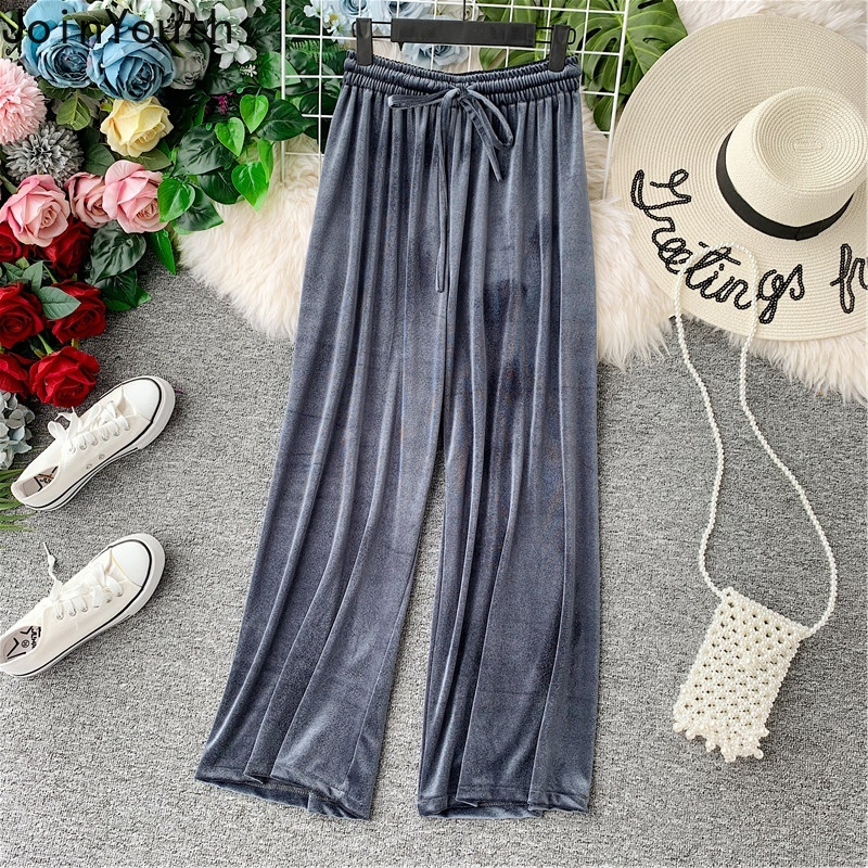 JoinYouth Drawstring Solid Pleuche   Wide     Leg     Pants   High Waist Pleated Korean Autumn Winter   Pants   Women Fashion Trousers J130