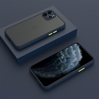 Matowy hybrydowy zderzak etui na telefon iPhone 11 Pro Max 12 11 Pro X XS XR 6 6S 7 8 Plus 12 Pro miękki silikonowy aparat ochronny tanie i dobre opinie TIKITAKA APPLE CN (pochodzenie) Bumper Contrast Color Frosted Transparent Phone Case przezroczyste Zwykły High Quality Soft TPU+Hard PC