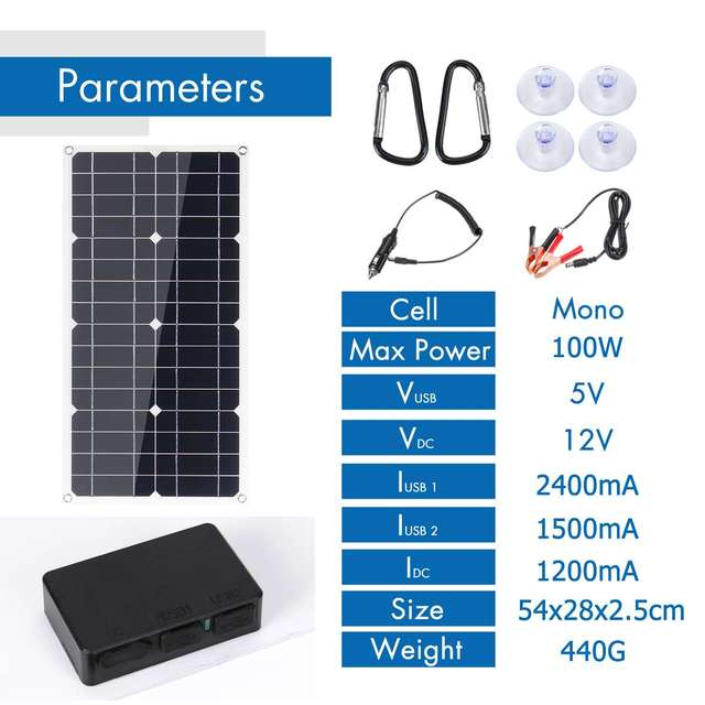 100W 18V Solar Panel Dual USB 12V/5V DC with 10/20/30A Solar Controller Flexible Solar Charger