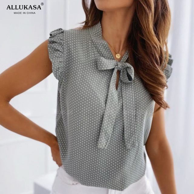 Allukasaa Women Blouses Short Sleeves Shirt Female Tops Ruffle Pullover Vintage Bow Up Polka Dot Summer Lace Butterfly