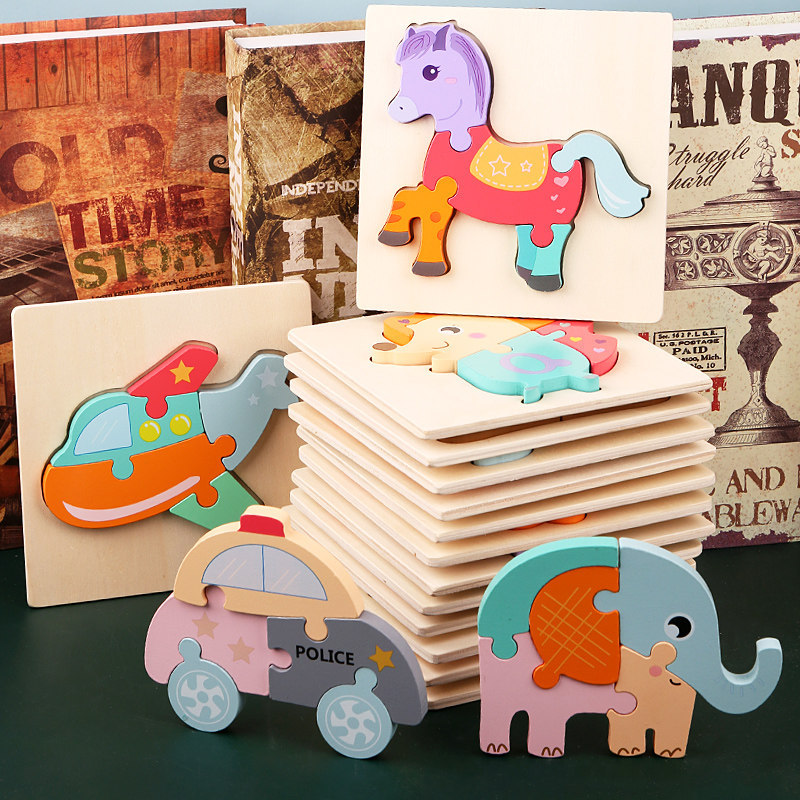 Montessori Wooden Kids Toy 3D Puzzle Jigsaw Board Tangram Cartoon Animal Car Puzzles for Children Baby
