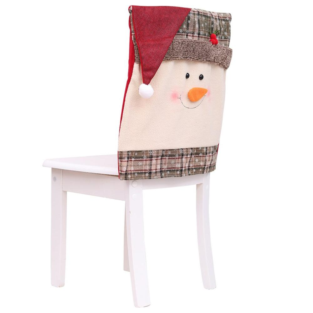 Christmas Decoration Home Decor Hat Back Chair Cover Decor Restaurant Hotel Square Stool Snow Man Furniture Decoration
