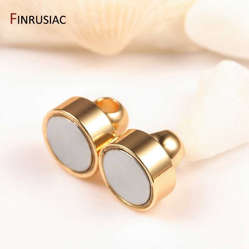 Kore moda manyetik toka 14k gerçek altın kaplama DIY boncuklu bilezik kolye takı aksesuarları manyetik top toka
