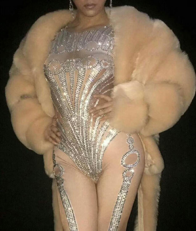 Женские бриллианты украшают Комбинезоны женские модные стрейч обтягивающие трико Ночной клуб Танцы у шеста костюмы сексуальный стиль Одежда - 5