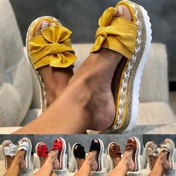 2020 Summer Fashion Sandals Shoes Women Bow Summer Sandals Slipper Indoor Outdoor Flip-flops Beach Shoes Female Slippers woman beach flip flops fashion summer pom pom sandals high heel shoes footwear slippers wedges shoes flip flops ljb100