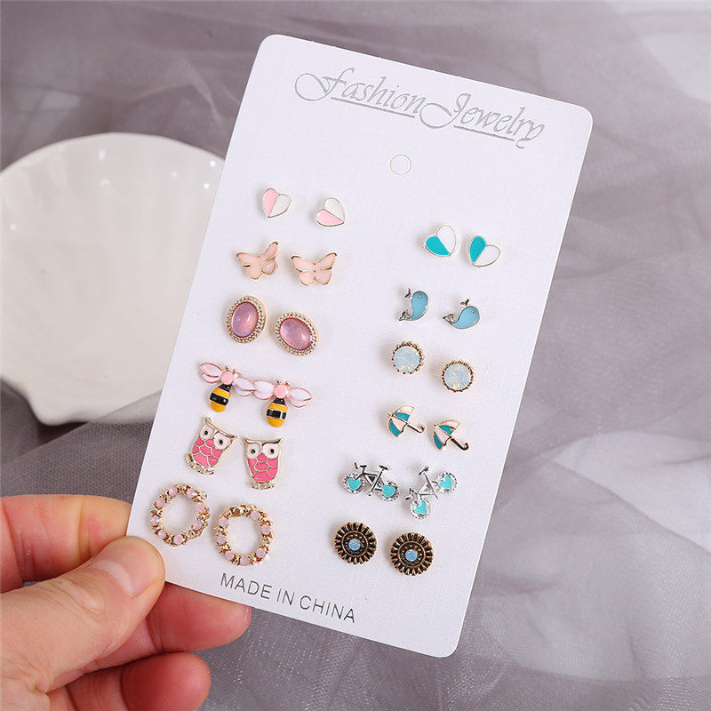 Htzzy 12 Pairs/Set, Women Stud Earrings Set Bohemian Jewelry Colorful Heart Animals Gold Geometric Crystal Fashion Earrings