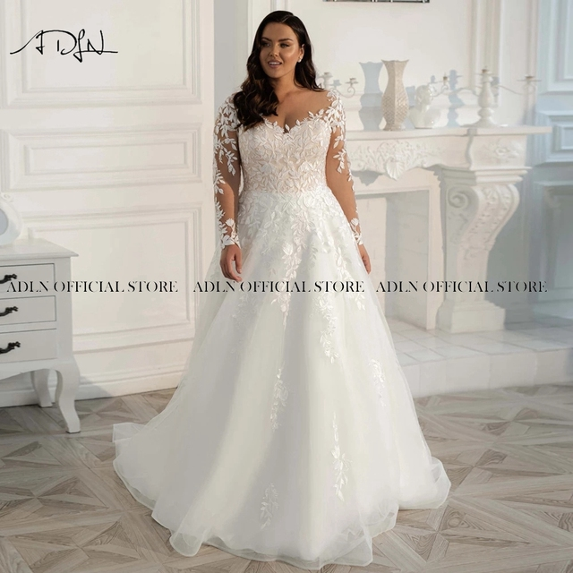 2021 New Plus Size Wedding Gown Long Sleeves Wedding Dress Customized Sweep Train A-line Tulle Lace Bridal Gown Vestido de Novia 4