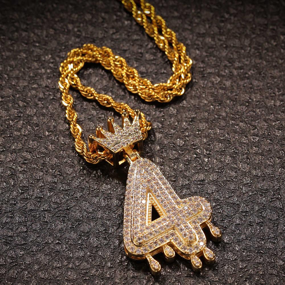 Uwin niestandardowe korona kroplówki numerów Bling Bling Iced Out naszyjnik dla kobiet mężczyzn złoty kolor Cubic cyrkon Hip Hop biżuteria