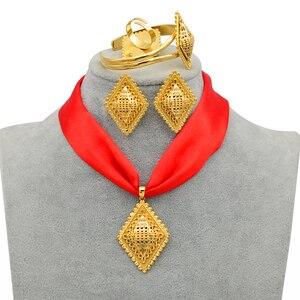Image 5 - Anniyo DIY Rope Ethiopian Jewelry set Pendant Necklaces Earrings Bangle Ring Gold Color Eritrea Habesha Jewellery Sets #218406