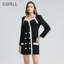 Женское лоскутное двубортное платье sispell элегантное с квадратным