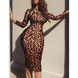 #Z45 Leopard Print Bodycon Dress Round Neck Long Sleeve Fit Slim Sexy Dress Spring Autumn Lady High Stretchy Party Dresses