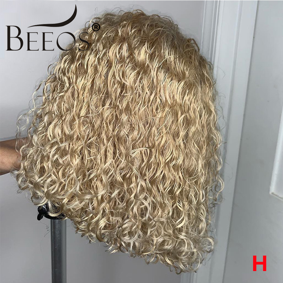 Beeos 150% Blonde Curly 13*4 Side Parting Lace Front Wig 613 Transparent Lace Colorful Short Bob Remy Human Hair Wigs Brazilian