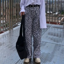 trendy elastic waist floral print wide leg pants for women Women Loose Leopard Print Wide Leg Pants Harajuku Streetwear Elastic Waist Hip Hop Pants