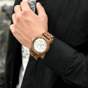 Image 5 - BOBO BIRD Wooden Watch Men relogio masculino Wood Metal Strap Chronograph Date Quartz Watches Luxury Versatile Timepieces WP19