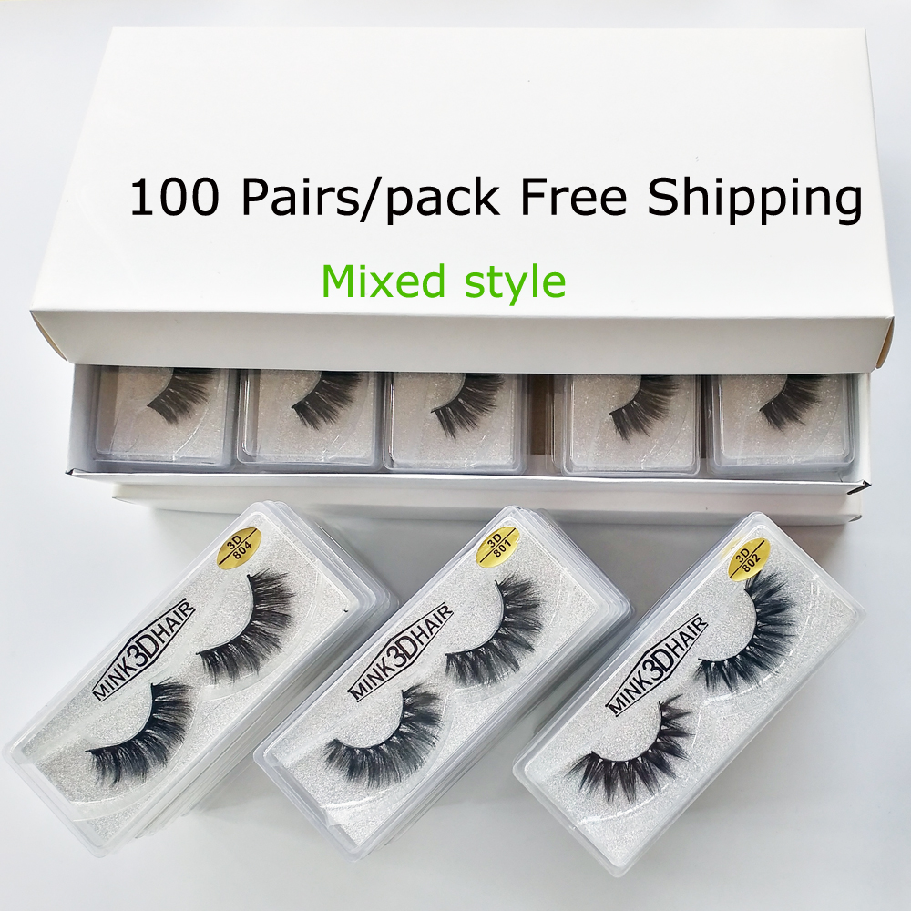 Wholesale Eyelashes 20/30/50/100 Pairs 3D Mink Lashes Natural False Eyelashes Hand Made Makeup Eye Lashes 3D Mink Eyelashes Bulk