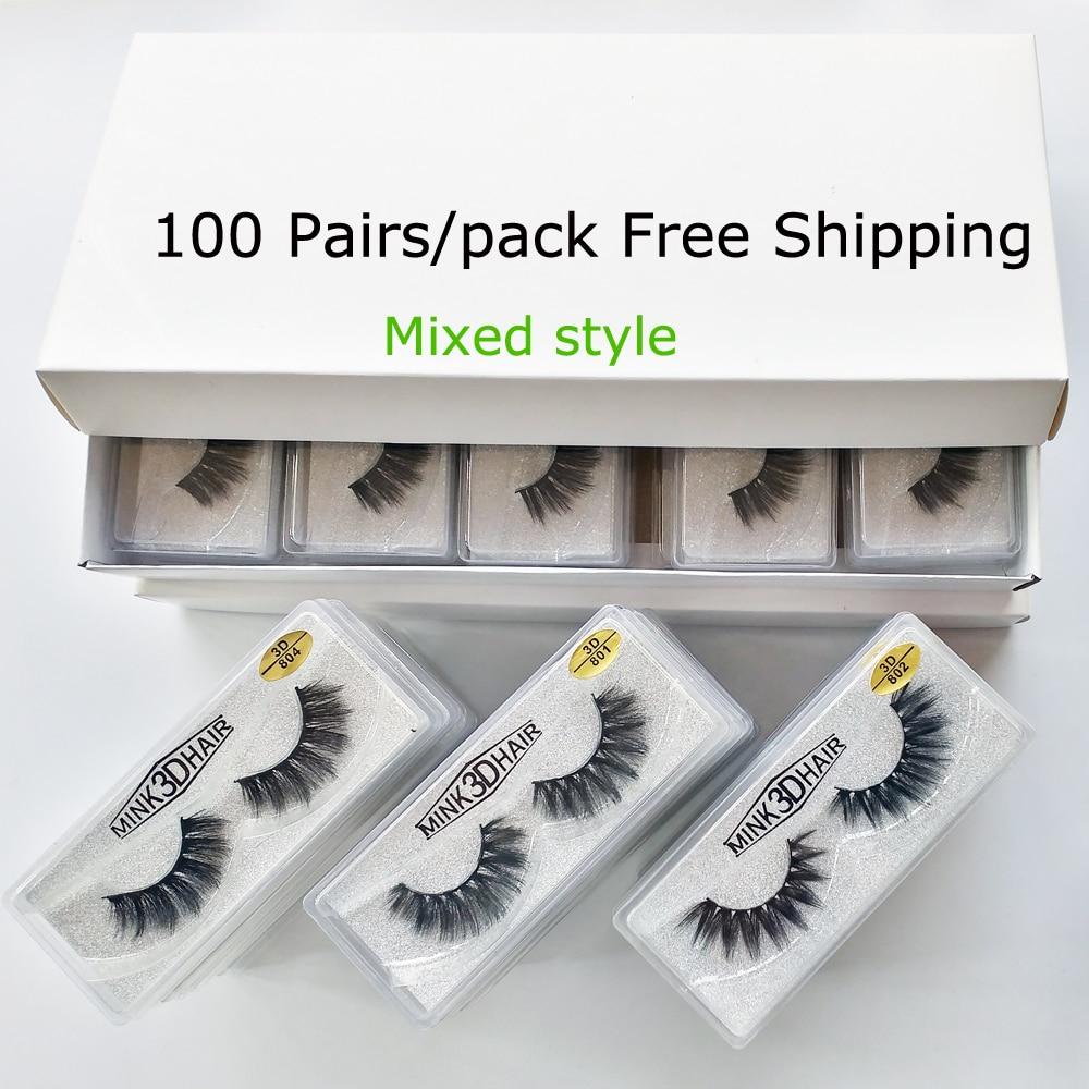 Wholesale Eyelashes 20/30/50/100 Pairs 3d Mink Lashes Natural False Eyelashes Hand Made Makeup Eye Lashes 3D Mink Eyelashes Bulk