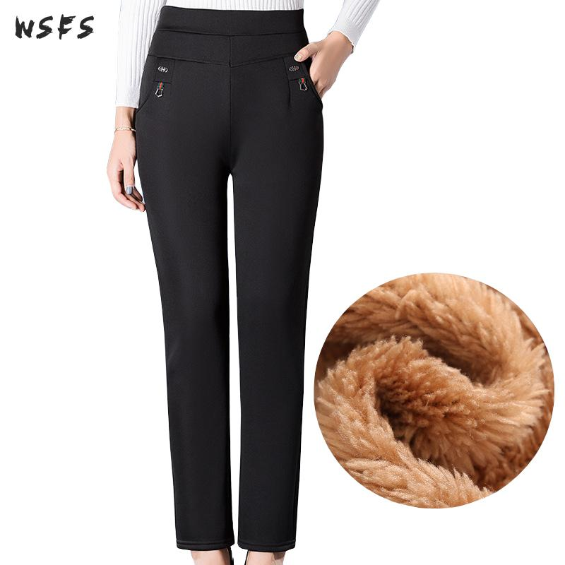 Plus Size 5xl Winter Autumn Pants Fleece Stretch Middle Aged Womens Pants Black Female Keep Warm Long High Waist Trousers Ladies
