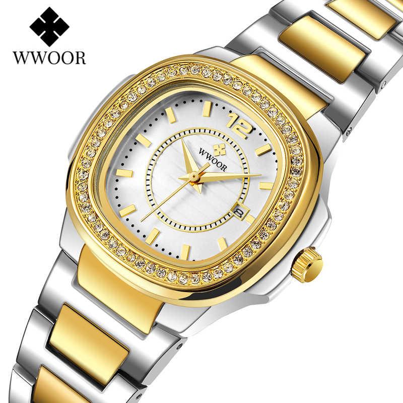אישה שעונים 2020 מפורסם מותג WWOOR אופנתי גבירותיי שעונים כסף זהב שעון נשים יהלומי שעוני יד Montre Femme 2020