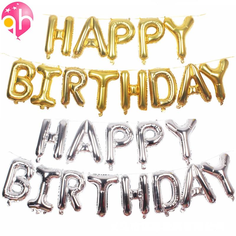 Letter Balloon Happy Birthday Set Letter Balloon 17-Inch Beauty Thin Body Happy Birthday Set Letter Balloon