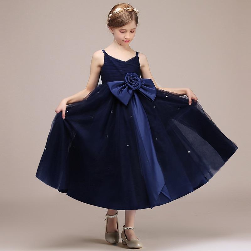Children GIRL'S Gown Princess Dress Piano Costume Host Performance Formal Dress Banquet Navy Late Formal Dress Women's