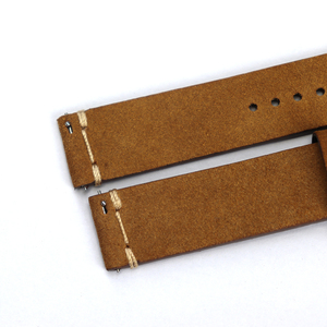 Image 3 - Cronos Watch Parts Genuine Leather Strap for Watch Flat Ends 20mm Stainless Steel Bronze Tongue Buckle Quick Release Spring Bars