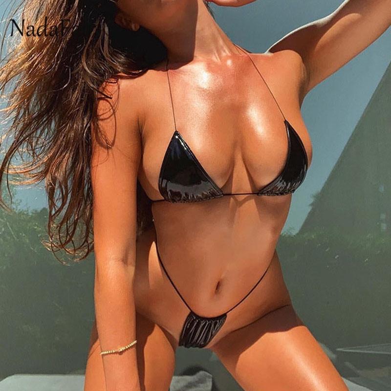 Nadafair Sexy Thong Bikini Micro Separate High Waist Bikini Brazilian Push-Up Women's Two-Piece Swimsuit PU Bathing Suit Women