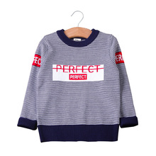 2019 New Kids Sweaters Little Boys Long Sleeve Pullover Clothes Autumn Winter Round Neck Striped Knitted Sweater for Girls tbz 1 5yrs kids sweaters new 2016 winter spring girls clothes fashion boys clothes little rabbit embroidered knitting wool suit
