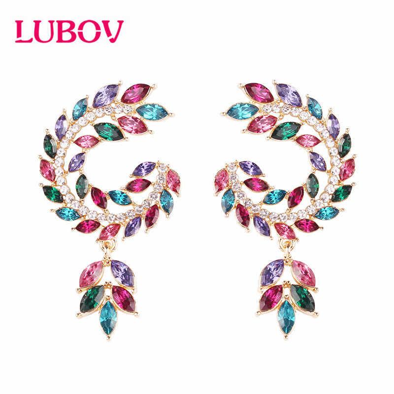 LUBOV elegante Multi-color simetría alas gota pendientes cristal lazo colgante pendientes colgantes para mujeres joyería de fiesta 2019 nuevo
